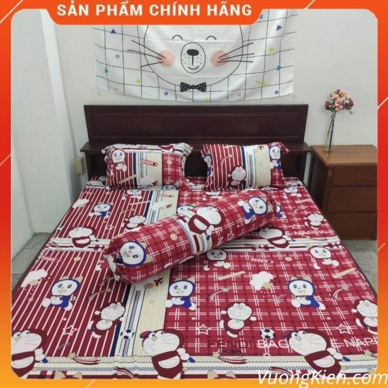 Drap thun lạnh Hàn Quốc doremon kitty đỏ đô DTLHQ009