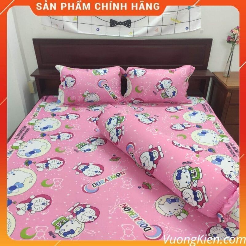 drap giuong thun han quoc cho be doremon kitty hong