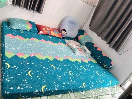 Drap Giường Thun Lạnh Hàn Quốc ngôi sao xanh Bộ 4 món hoặc Ga lẻ không vỏ gối 024 photo review