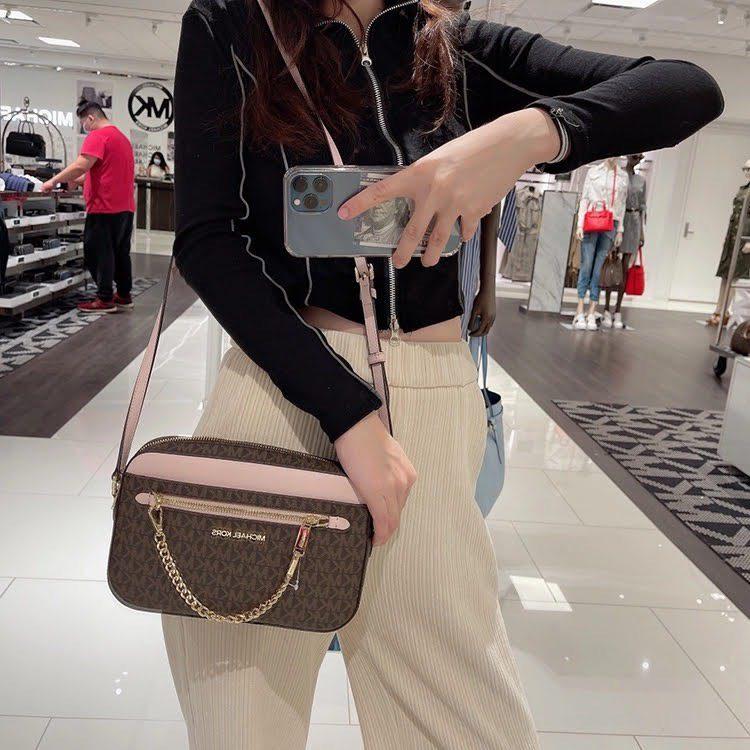 Túi xách MK Michael Kors màu nâu viền hồng